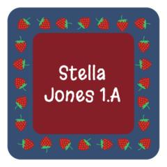 Strawberry - mini square labels